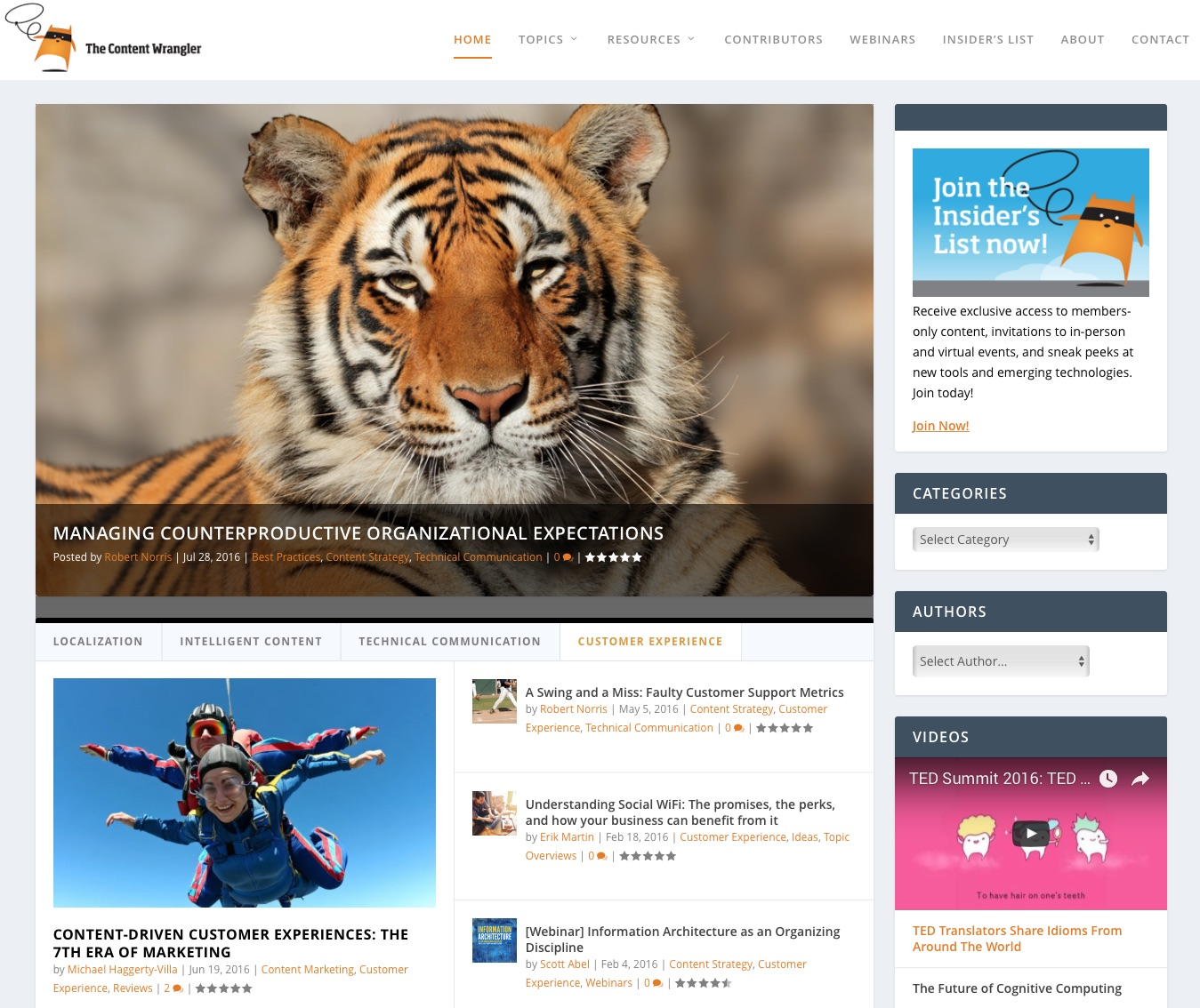 Image: The Content Wrangler home page with videos.