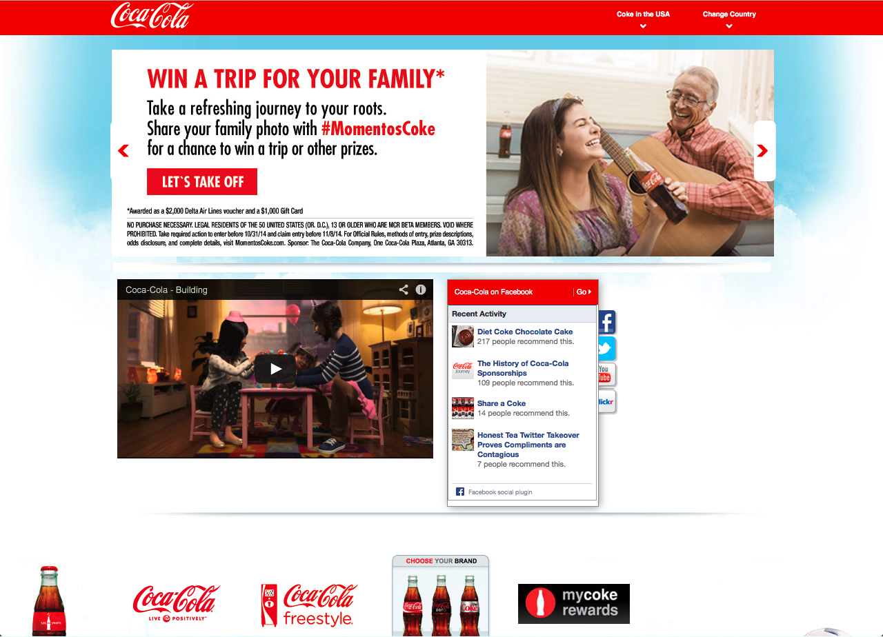 Coca-Cola Website, United States -- adapting translated content