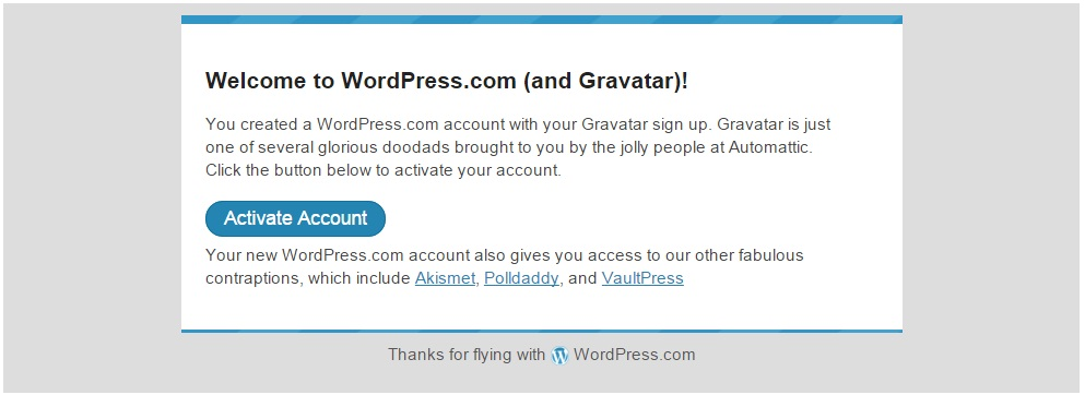 Image: Gravatar email confirmation