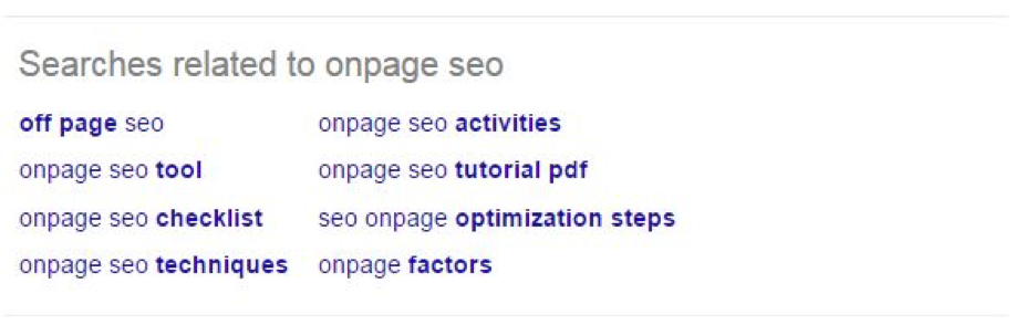 Image: Related searches results from Google, Complete Guide to LSI Keywords