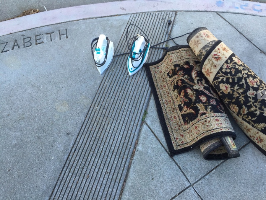 Image: Carpet and irons spotted at the corner of Elizabeth and Sanchez