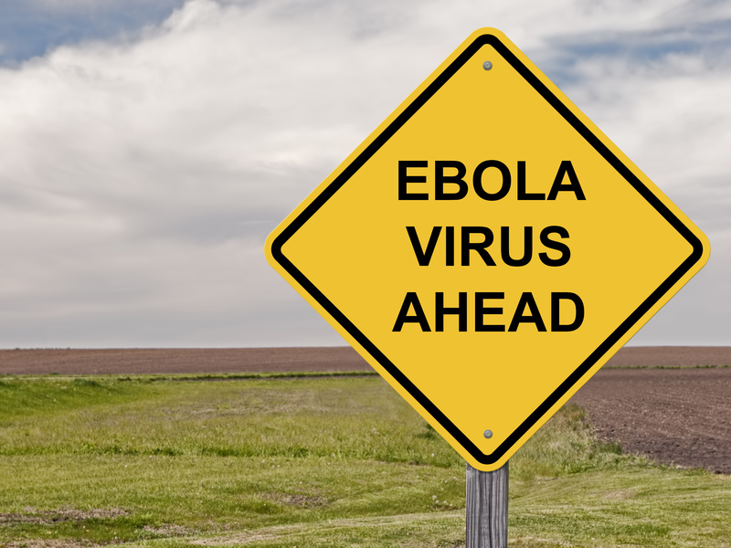 """Sign that reads """"Caution Ebola Ahead"""""""