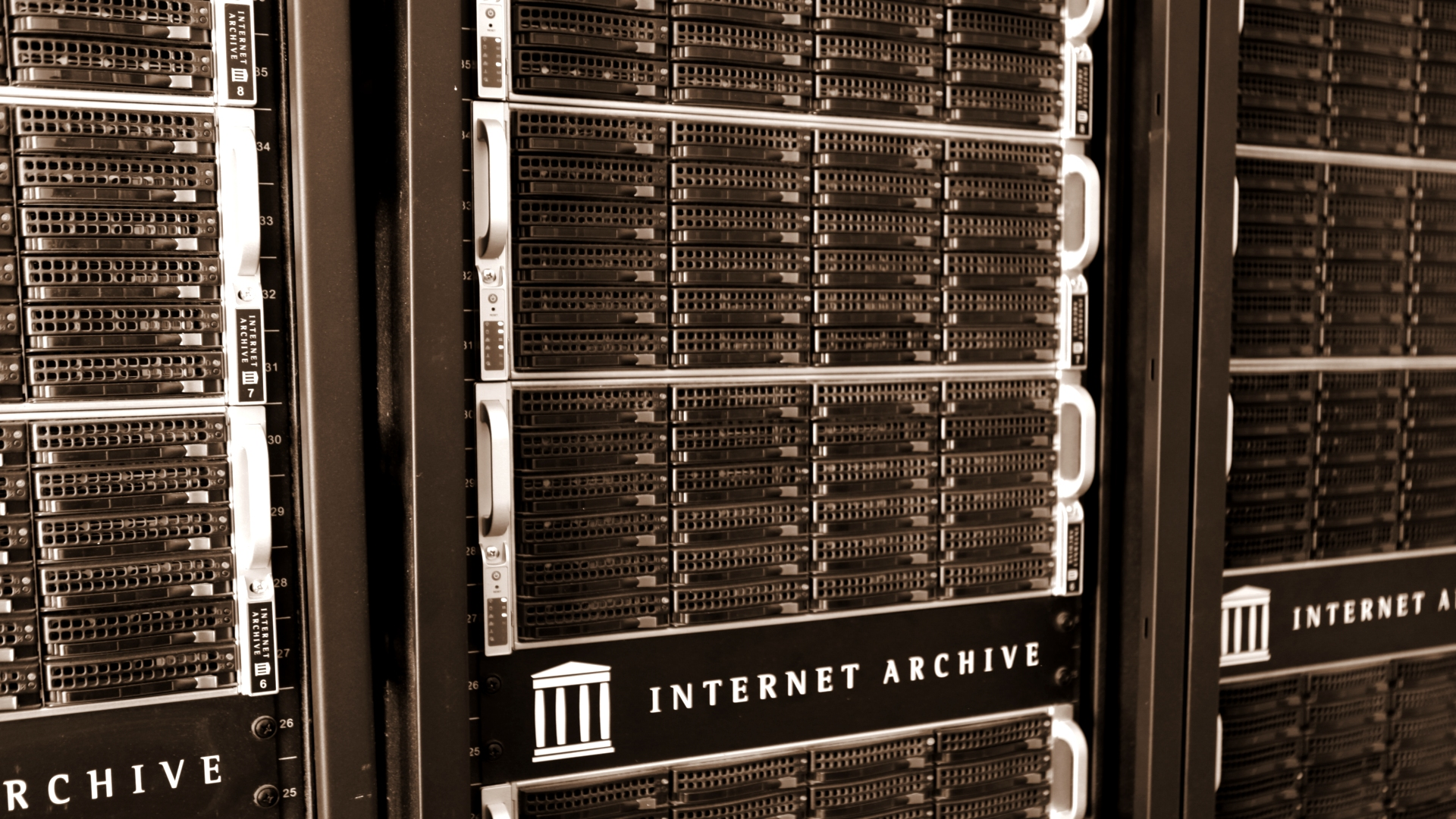 Image: Servers at the Internet Archive's data center.
