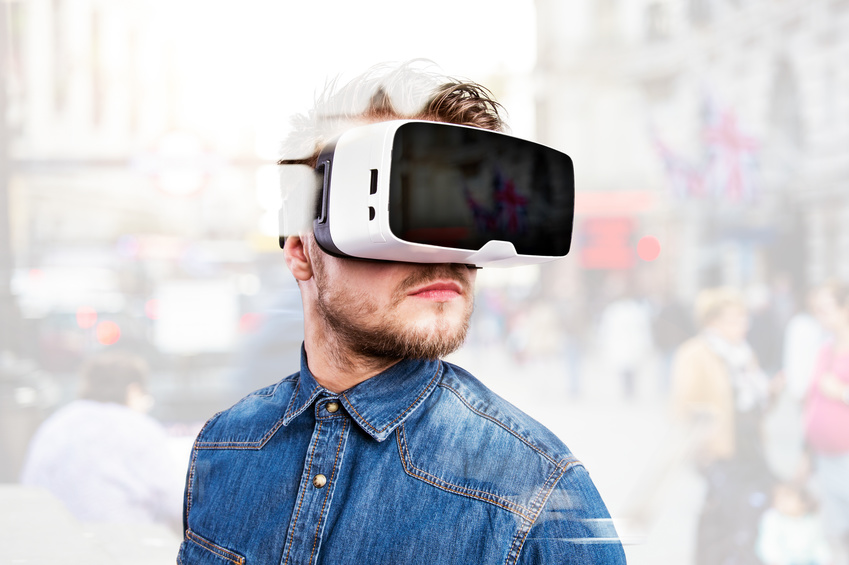 Image: Man wearing virtual reality glasses