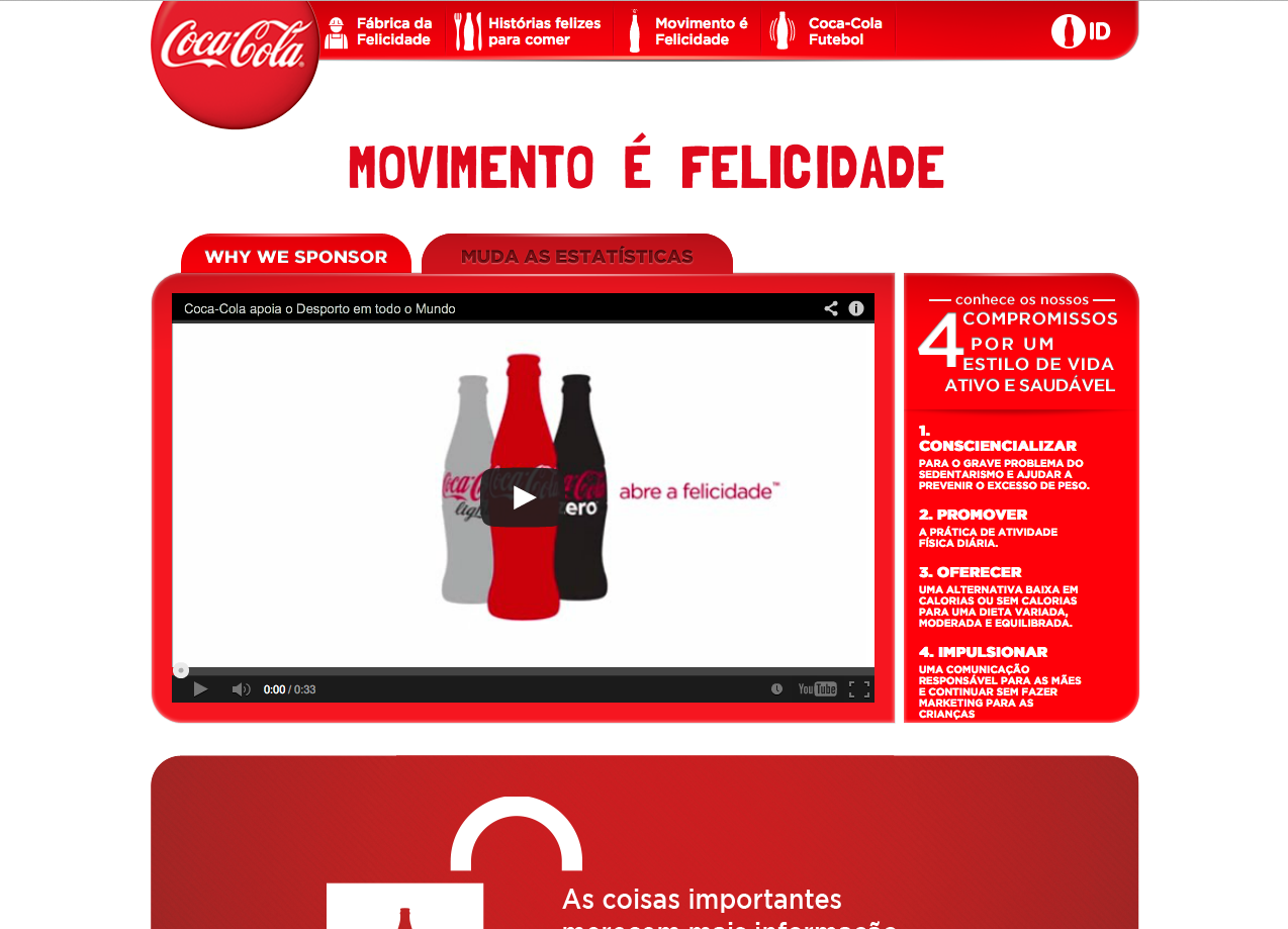 Coca-Cola website, Portugal -- adapting translated content