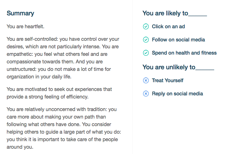 Image: Personality insights from IBM Watson