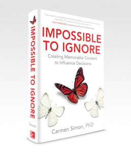 "Image: Cover of the book, ""Impossible to Ignore"" by Dr. Carmen Simon."